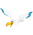 cute pelican cartoon flying vector image vector image