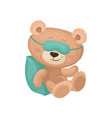 cute teddy bear in sleeping mask dreaming on vector image