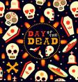 day dead emoji skull seamless pattern art vector image