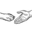 dog paw handshake engraving vector image vector image