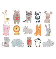 drawn animals cute funny wild vector image