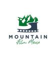 film trip to mountains logo vector image vector image