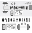 fitness trackers on hand line monochrome vector image