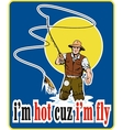 fly fisherman fishing with fly rod and reel and vector image vector image