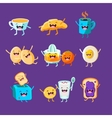 Fun Breakfast Food with cute faces happy vector image