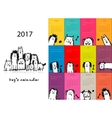 Funny dogs calendar 2017 design vector image vector image