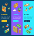 furniture for library 3d banner vecrtical set vector image vector image
