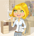 Girl with tablet inspiration idea in office vector image vector image