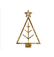 golden glitter christmas tree line icon vector image vector image