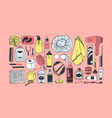 hand drawn set with beauty products pink bath vector image