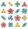 hand fidget spinner toy colorful icon set vector image vector image