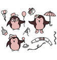 happy birthday set of cartoon elements vector image vector image