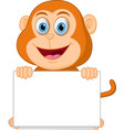 happy monkey cartoon with sign vector image vector image