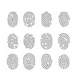 icon set black fingerprint identification symbol vector image vector image