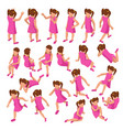 isometric set girls in different poses stands vector image