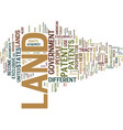land patent text background word cloud concept vector image vector image