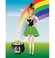 Leprechaun girl with pot of gold vector image vector image