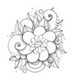 monochrome floral in doodle style vector image