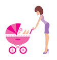 mother with a carriage vector image vector image