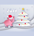 new year tree and cute pig character vector image vector image