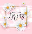 pink spring background with realistic chamomile vector image vector image