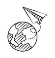 planet earth and paper plane doodles vector image