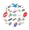 private flying machine icons set isometric style vector image vector image