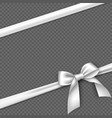 realistic white bow and ribbon vector image vector image