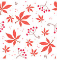 seamless pattern of autumn leaves and berries vector image vector image