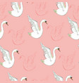 seamless pattern with white swans vector image