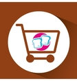 shopping cart with chopped bread vector image vector image