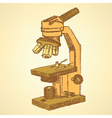 Sketch microscope in vintage style vector image vector image