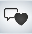 speech bubble with heart thin line icon on white vector image vector image