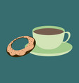 sweet dessert in flat design cup of tea and donat vector image vector image