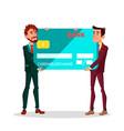 two businessmen in hands with great effort carry vector image vector image