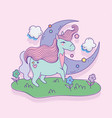 unicorn with heart moon flowers in meadow vector image vector image