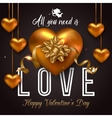 Valentines Day background with hanging gold heart vector image vector image