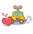 with heart cartoon clockwork toy car for gift vector image