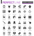 black classic video games icons set vector image