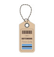 hang tag made in botswana with flag icon isolated vector image