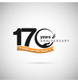 170 years anniversary logo with ribbon and hand vector image vector image