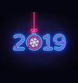 2019 happy new year neon text 2019 new year vector image vector image