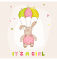 babunny with parachute - bashower card vector image vector image
