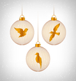 Birds in Christmas balls on grayscale vector image