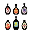 Bottles silhouettes with vintage labels vector image vector image