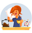 cartoon tired sleepy yawning woman with cup of vector image vector image