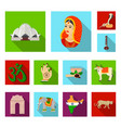country india flat icons in set collection vector image vector image