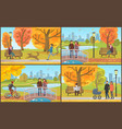 couple with perambulator walking in park vector image vector image