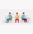 coworking studio with people sitting at table vector image vector image