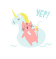 cute hand drawn cat swimming in a pool vector image vector image